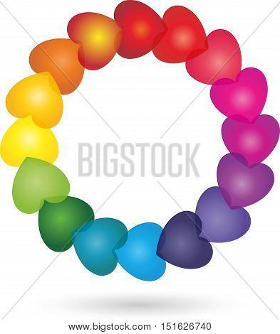 Many hearts colored logo, circle heart in vector