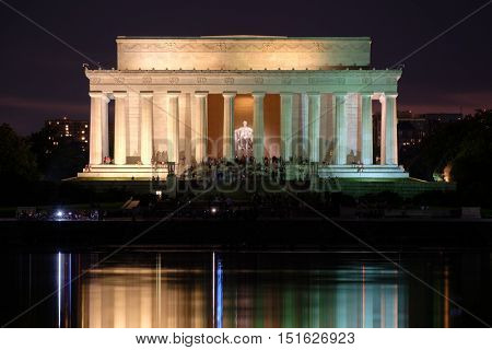 The Lincoln Memorial and the Reflecting Pool in Washington D.C. illuminated at night