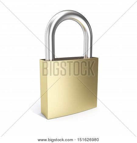 3d illustration padlock icon, closed lock security icon isolated on white