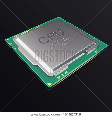 3d illustration CPU chip, central processor unit on black background