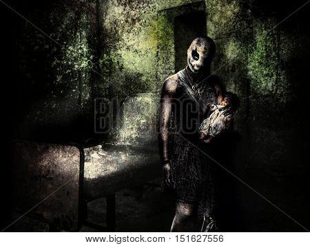 spooky children in halloween haunted horror house