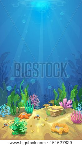 Underwater landscape. The ocean and the undersea world with different inhabitants, Mobile format vector marine life illustration