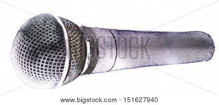 watercolor sketch of microphone on white background