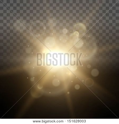 Solar Dawn glow lighting lights ray transparent background lens effect. Easy to change the background. Vector illustration.