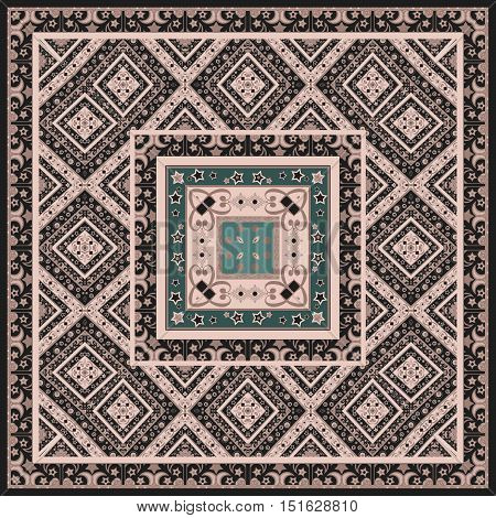 Bandana design with abstract geometrical elements tile print