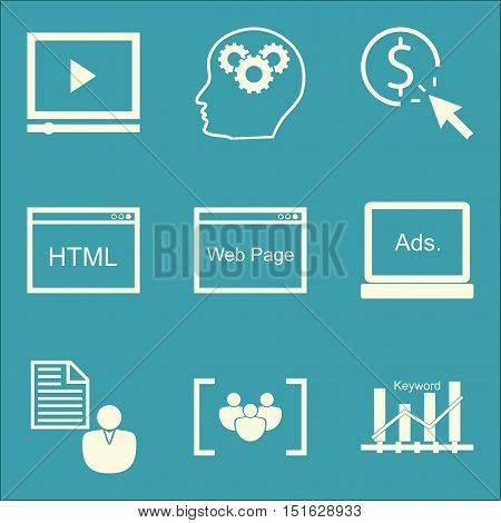 Set Of Seo, Marketing And Advertising Icons On Creativity, Client Brief, Display Advertising And Mor
