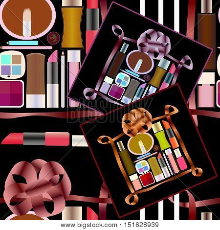 Seamless pattern with gifts of Perfumery and Cosmetics background