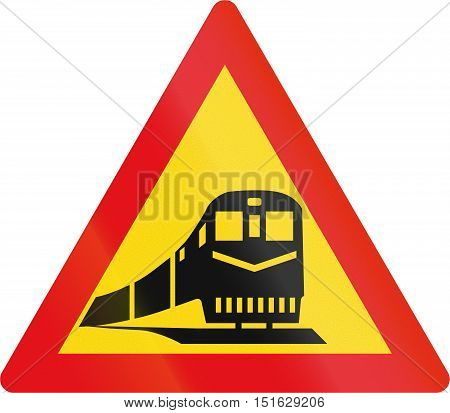 Temporary Road Sign Used In The African Country Of Botswana - Railway Crossing Ahead
