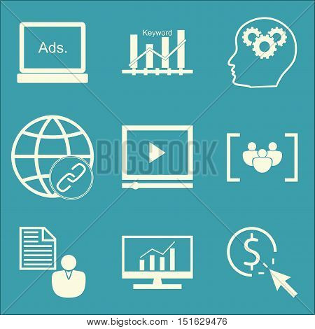 Set Of Seo, Marketing And Advertising Icons On Keyword Ranking, Client Brief, Pay Per Click And More