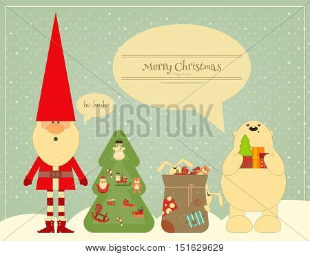 Retro Merry Christmas and New Years Card with Santa Claus and Polar Bear on Vintage Snow Background. Vector illustration.