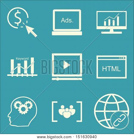 Set Of Seo, Marketing And Advertising Icons On Comprehensive Analytics, Focus Group, Html Code And M