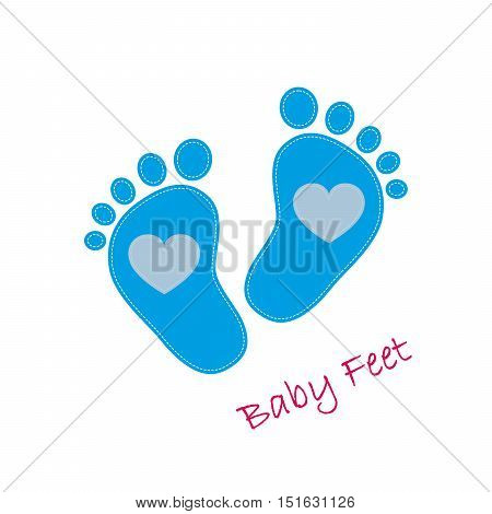 Blue baby footprints with heart in the center. Baby footprints as a symbol of pregnancy or childbirth. Vector illustration.