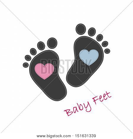 Baby footprints with pink and blue hearts in the center. Baby footprints as a symbol of pregnancy or childbirth. Vector illustration.