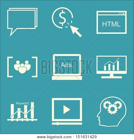 Set Of Seo, Marketing And Advertising Icons On Video Advertising, Display Advertising, Html Code And