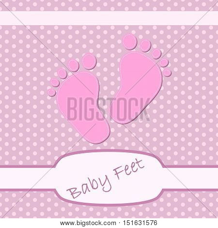 Pink baby footprints. Baby footprints as a symbol of pregnancy or childbirth. Cute background on birthday of girl. Vector illustration.