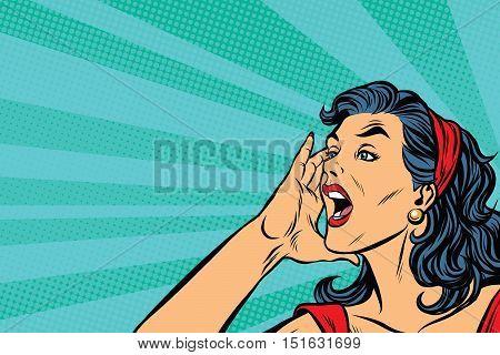 Pop art retro girl screams, vector illustration. Herald news
