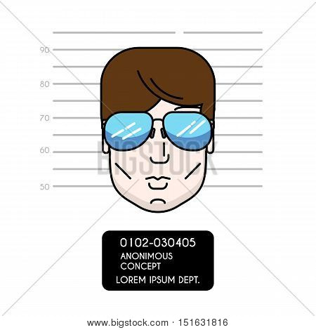 Vector cartoon illustration of police lineup or mugshot of anonymous male. Man head with sunglasses. Modern outline design style. For web apps. Can be used as avatar or userpic