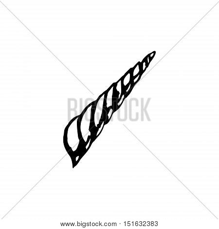The horn of a unicorn a graphical image on a white background. Vector illustration