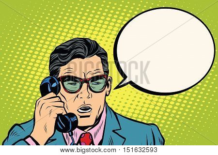 Surprise. Businessman talking on the phone,  pop art retro vector illustration