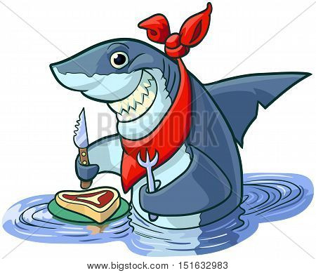 Vector cartoon clip art illustration of a cute happy smiling shark with a knife fork and bib about to eat a steak on a plate.