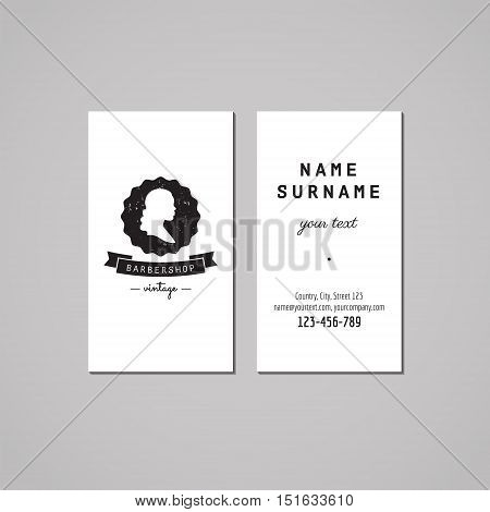 Barbershop (hair salon) business card design concept. Logo-badge with wavy long hair woman profile and ribbon. Vintage hipster and retro style. Black and white.