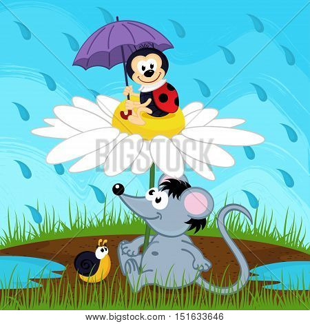 mouse ladybug and snail hiding from rain - vector illustration