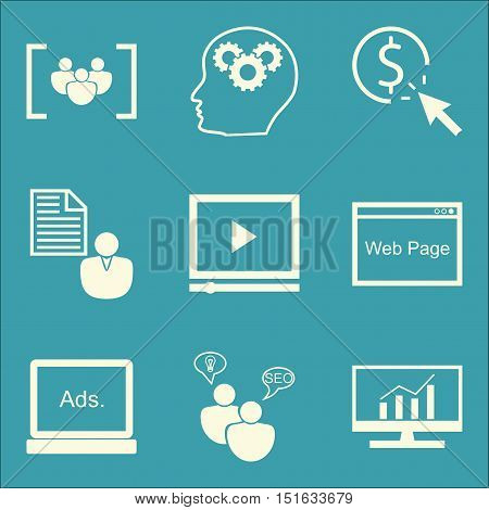 Set Of Seo, Marketing And Advertising Icons On Client Brief, Display Advertising, Creativity And Mor