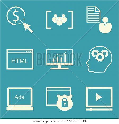 Set Of Seo, Marketing And Advertising Icons On Focus Group, Pay Per Click, Html Code And More. Premi