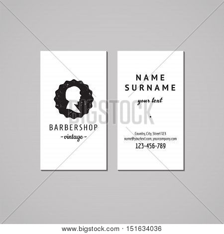 Barbershop (hair salon) business card design concept. Logo-badge with bob hairstyle woman profile. Vintage hipster and retro style. Black and white.