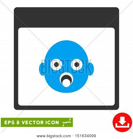Newborn Head Calendar Page icon. Vector EPS illustration style is flat iconic bicolor symbol, blue and gray colors.