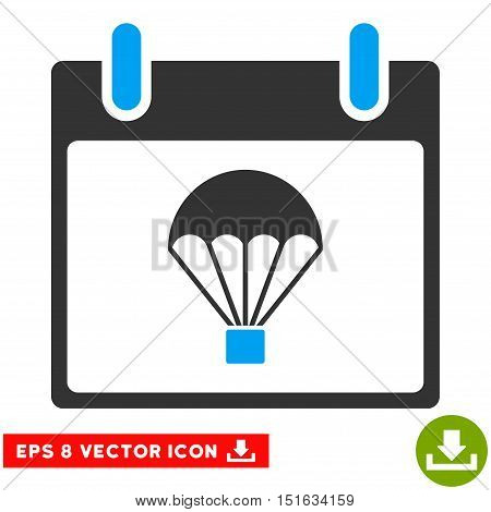 Parachute Calendar Day icon. Vector EPS illustration style is flat iconic bicolor symbol, blue and gray colors.
