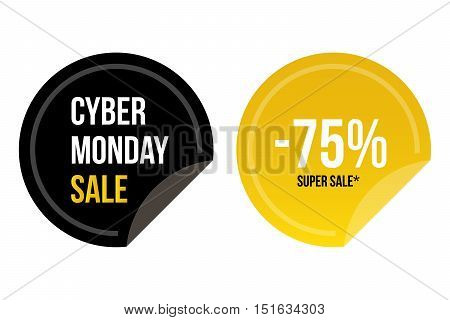 Cyber monday super sale round stickers for web and print isolated on white background.