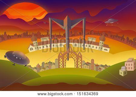 Fantasy landscape illustration. Fantasy land with castle, houses and flying UFOs illustration.