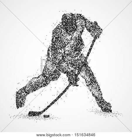 Abstract hockey player of the black circles. illustration.