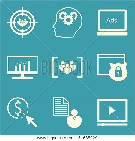 Set Of Seo, Marketing And Advertising Icons On Display Advertising, Pay Per Click, Client Brief And