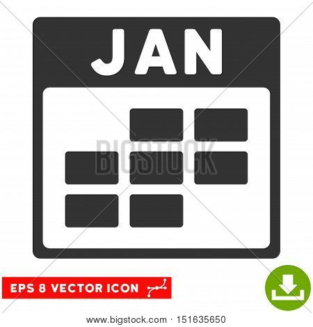 January Calendar Grid icon. Vector EPS illustration style is flat iconic symbol, gray color.