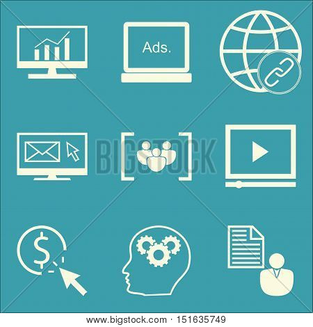 Set Of Seo, Marketing And Advertising Icons On Video Advertising, Email Marketing, Client Brief And