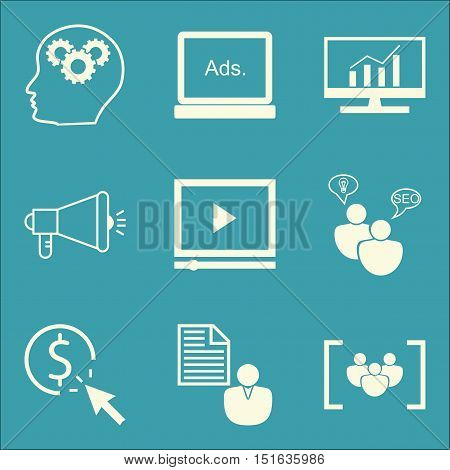 Set Of Seo, Marketing And Advertising Icons On Viral Marketing, Comprehensive Analytics, Seo Consult