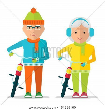 Old man and old woman in warm clothing walking with bikes. Healthy active lifestyle. Sport for grandparents. Objects isolated on a white background. Flat vector illustration.