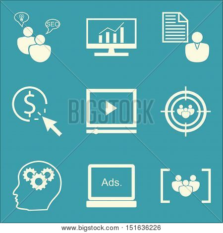 Set Of Seo, Marketing And Advertising Icons On Video Advertising, Pay Per Click, Comprehensive Analy