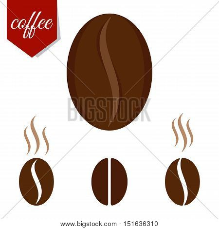 Set of fragrant brown coffee beans. Flat cartoon coffee beans llustration. Objects isolated on a white background.