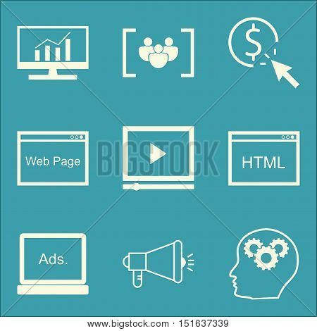 Set Of Seo, Marketing And Advertising Icons On Comprehensive Analytics, Focus Group, Viral Marketing