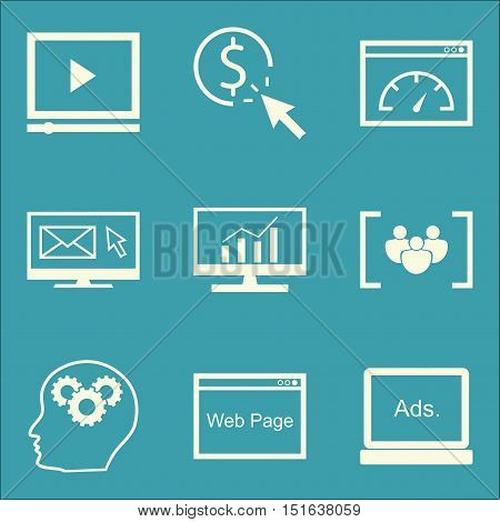 Set Of Seo, Marketing And Advertising Icons On Comprehensive Analytics, Email Marketing, Focus Group
