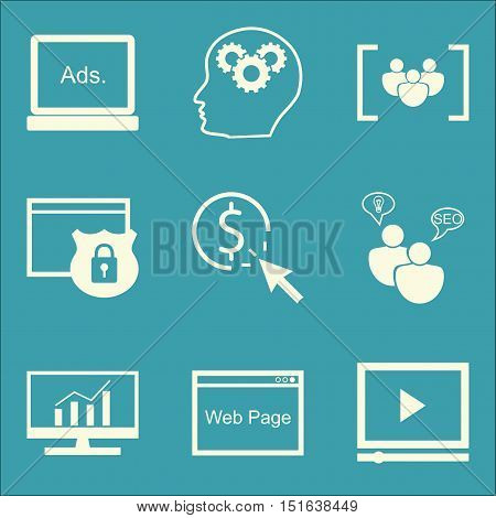 Set Of Seo, Marketing And Advertising Icons On Focus Group, Comprehensive Analytics, Seo Consulting