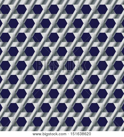 Abstract modern silver lattice with hexagon cutout background