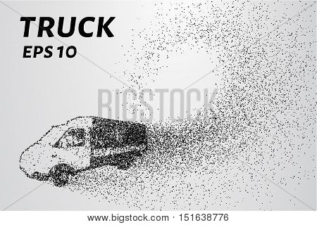 Truck of the particles. Cargo small truck made up of little circles. Vector illustration