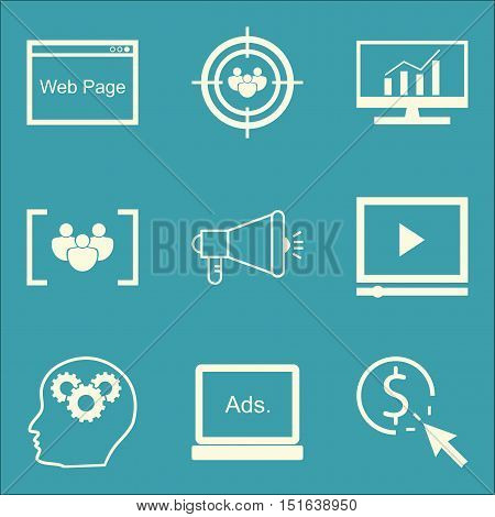 Set Of Seo, Marketing And Advertising Icons On Pay Per Click, Comprehensive Analytics, Focus Group A