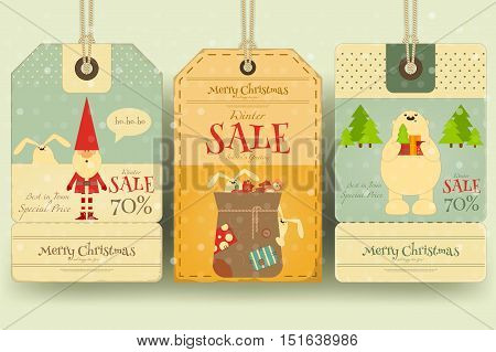 Christmas Sale Tags in Retro Style with Xmas Symbols - Santa Claus Polar Bear. Winter Sell-out Labels Collection. Vector Illustration.