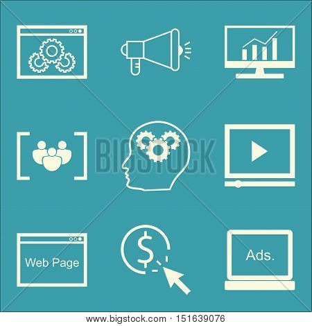 Set Of Seo, Marketing And Advertising Icons On Viral Marketing, Comprehensive Analytics, Focus Group