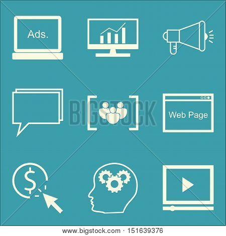 Set Of Seo, Marketing And Advertising Icons On Comprehensive Analytics, Online Consulting, Video Adv